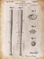 Baseball Bat 2 White Patent Fine Art Print