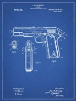 Blueprint Colt 1911 Semi-Automatic Pistol Patent Framed Print