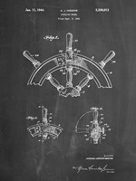 Chalkboard Ship Steering Wheel Patent Fine Art Print