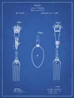Blueprint Antique Spoon and Fork Patent Fine Art Print