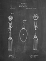 Chalkboard Antique Spoon and Fork Patent Fine Art Print