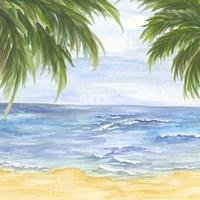 Beach and Palm Fronds II Fine Art Print