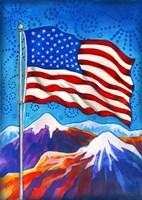 American Flag - Mountains Fine Art Print