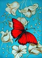 Aqua-Red Butterfly Fine Art Print