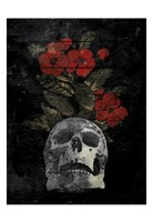 Skull Red Flowers Fine Art Print