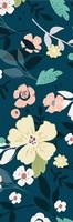 Folksy Floral Scatter BLue&Grey Fine Art Print