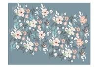 Folksy Flora Grey Floral Scatter Fine Art Print