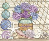 Hydrangea & Seashells Fine Art Print