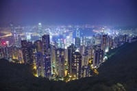 China, Hong Kong, Overview of City at Night Fine Art Print