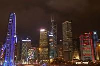 Skyscrapers and Hong Kong Observation Wheel, Hong Kong, China Fine Art Print
