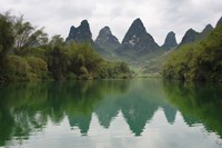 Karst Hills with Longjiang River, Yizhou, Guangxi Province, China Fine Art Print