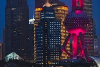 Pudong Skyline dominated by Oriental Pearl TV Tower, Shanghai, China Fine Art Print