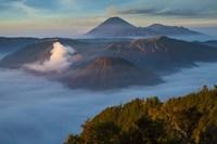 Mt Bromo and Mt Merapi, East Java, Indonesia Fine Art Print