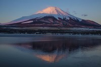 Mt Fuji and Lake at sunrise, Honshu Island, Japan Fine Art Print