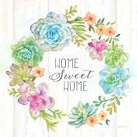 Sweet Succulents Wreath Home Fine Art Print