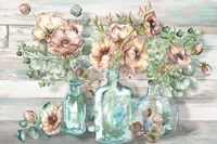 Blush Poppies and Eucalyptus in bottles landscape Fine Art Print