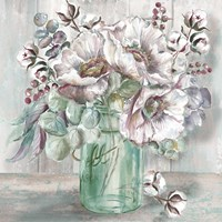 Blush Poppies and Eucalyptus in Mason Jar Fine Art Print
