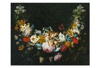 Gaspar Peeter Verbruggen, A swag of flowers Fine Art Print