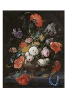 Abraham Mignon, Still Life with Flowers and a Watch Fine Art Print