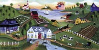 American Folk Art Seadise With Angel Fine Art Print