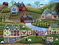 Country Harvest Folk Art Quilt Farms Fine Art Print
