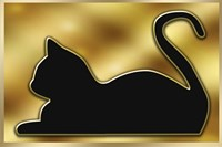 Cat on Gold Background Fine Art Print