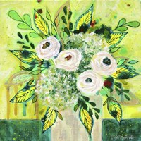 Florals On Green 1 Fine Art Print