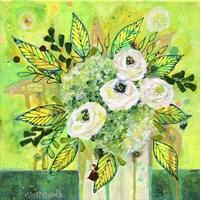 Florals On Green 2 Fine Art Print