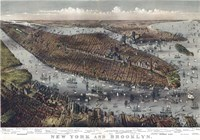 Map Of New York And Brooklyn 1875 Fine Art Print