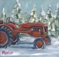Tractor 4 Seasons Allis Chalmers Holiday Fine Art Print