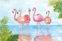 Flamingos And Leaves Fine Art Print