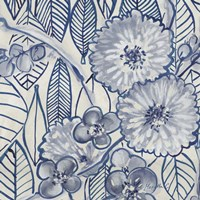 Indigo Leaves And Florals 1 Fine Art Print