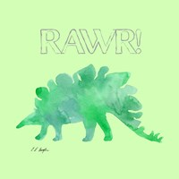 Green Stegosaurus - Green Background Fine Art Print