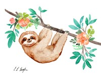 Little Brown Sloth with Flowers Fine Art Print