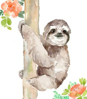 Tropical Sloth with Peach Flowers Fine Art Print