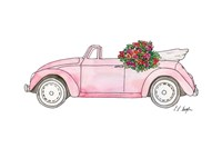 Pink Car with Roses Fine Art Print