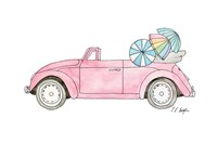 Pink Car with Umbrellas Fine Art Print