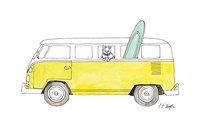 Yellow Van with Green Surf Board Fine Art Print