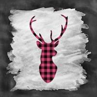 Pink Plaid Deer Framed Print