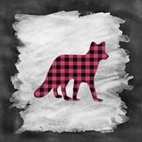 Pink Plaid Fox Framed Print