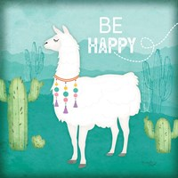 Be Happy Llama Framed Print