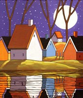 Purple Sky and Stars Cottages Fine Art Print