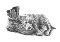 Puppy and Boot Fine Art Print