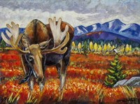 Moose In The Autumn Tundra Fine Art Print