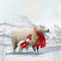 Sheep Red Scarf Fine Art Print