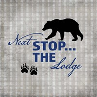 Blue Bear Lodge Sign 2 Framed Print