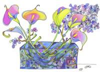 Calla Lilly And Hydrangea Hallucination Fine Art Print