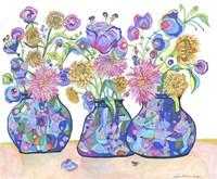 Three Cobalts With Wildflowers Fine Art Print
