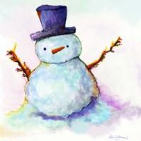 Snowman In Sunset Fine Art Print