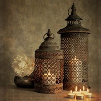 2 Lanterns with Flower Fine Art Print